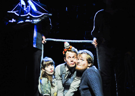 """(L–R) Megan Stern, Benjamin Schrader, and Harter Clingman in """"Peter and the Starcatcher."""""""
