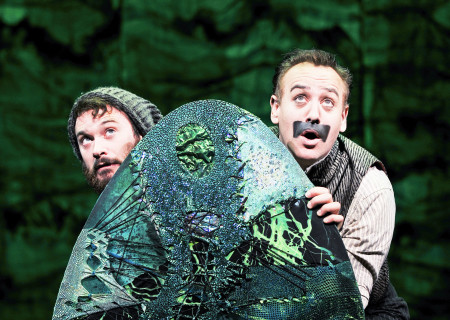 """(L–R) Luke Smith and John Sanders in """"Peter and the Starcatcher."""""""