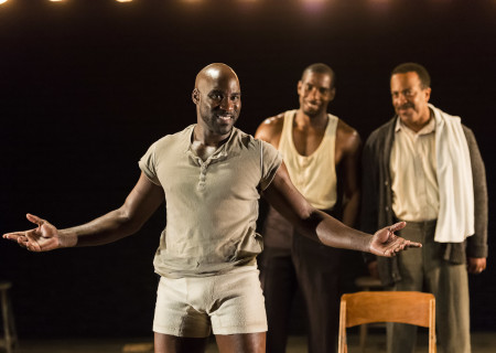 """(L–R) David St. Louis, Desean Terry, and Robert Gossett in the World premiere of """"The Royale."""""""