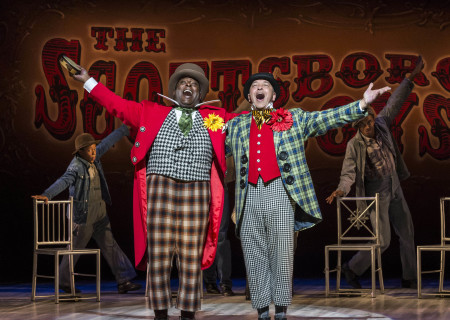 """(L–R) Trent Armand Kendall and JC Montgomery in Kander and Ebb's """"The Scottsboro Boys."""""""