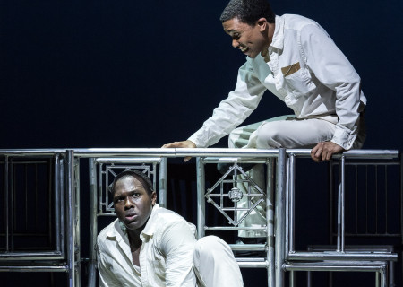"""(L–R) Joshua Henry and Clinton Roane in Kander and Ebb's """"The Scottsboro Boys"""""""