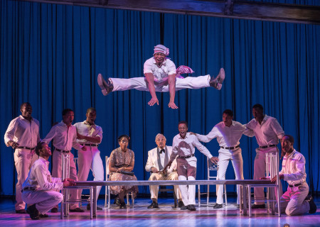 """Gilbert L. Bailey II (center) and cast in Kander and Ebb's """"The Scottsboro Boys."""""""