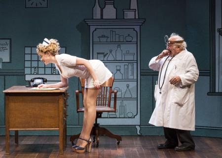 """(L–R) Annie Abrams and Danny DeVito in Neil Simon's """"The Sunshine Boys"""" at the Ahmanson Theatre."""