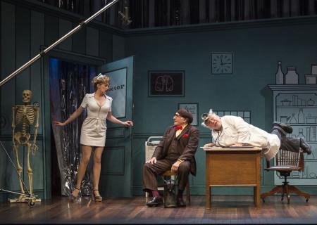 """(L–R) Annie Abrams, Judd Hirsch and Danny DeVito in Neil Simon's """"The Sunshine Boys"""" at the Ahmanson Theatre."""