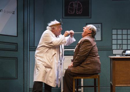 """(L–R) Danny DeVito and Gibby Brand in Neil Simon's """"The Sunshine Boys"""" at the Ahmanson Theatre."""
