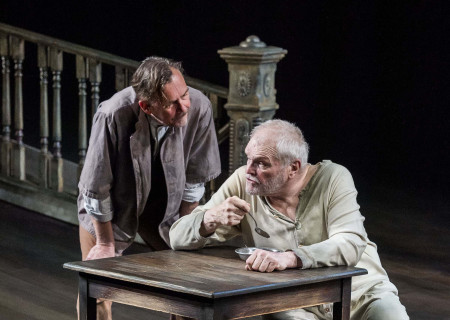 "(L–R) James Lancaster and Brian Dennehy in Sebastian Barry's ""The Steward of Christendom"" at the Mark Taper Forum."