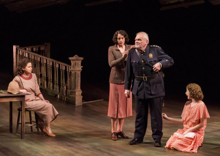 "(L–R) Abby Wilde, Kalen Harriman, Brian Dennehy, and Carmela Corbett in Sebastian Barry's ""The Steward of Christendom"" at the Mark Taper Forum."