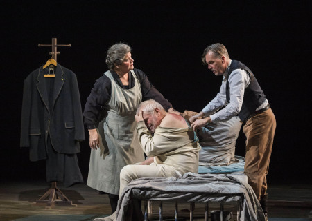 "(L–R) Mary-Pat Green, Brian Dennehy and James Lancaster in Sebastian Barry's ""The Steward of Christendom"" at the Mark Taper Forum."