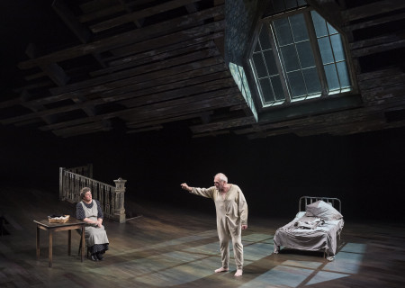 "(L–R) Mary-Pat Green and Brian Dennehy in Sebastian Barry's ""The Steward of Christendom"" at the Mark Taper Forum."