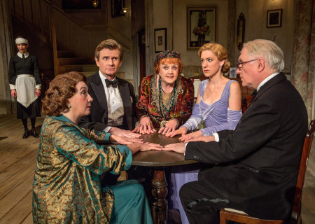 (L–R) Susan Louise O'Connor (background), Sandra Shipley, Charles Edwards, Angela Lansbury, Charlotte Parry and Simon Jones in the North American tour of Noël Coward's 'Blithe Spirit' at the Ahmanson Theatre.