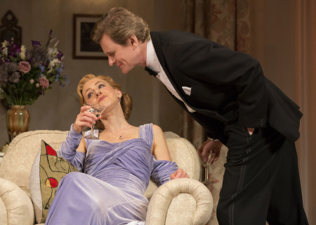 (L–R) Charlotte Parry and Charles Edwards in the North American tour of Noël Coward's 'Blithe Spirit' at the Ahmanson Theatre.