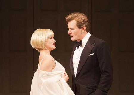 (L–R) Jemima Rooper and Charles Edwards in the 2014 West End revival of Noël Coward&#039;s &#039;Blithe Spirit&#039; at the Ahmanson Theatre.<br />
