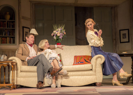 (L–R) Charles Edwards, Jemima Rooper and Charlotte Parry in the North American tour of Noël Coward's 'Blithe Spirit' at the Ahmanson Theatre.