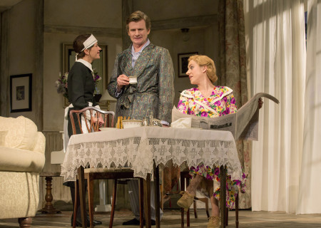 (L–R) Susan Louise O&#039;Connor, Charles Edwards and Charlotte Parry in the North American tour of Noël Coward&#039;s &#039;Blithe Spirit&#039; at the Ahmanson Theatre.<br />