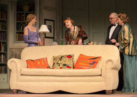 (L-R) Charlotte Parry, Angela Lansbury, Simon Jones and Sandra Shipley in the North American tour of Noël Coward&#039;s &#039;Blithe Spirit&#039; at the Ahmanson Theatre.<br />