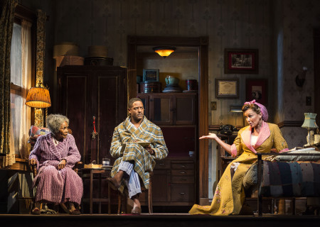 (L–R) Cicely Tyson, Blair Underwood and Vanessa Williams in the critically acclaimed, Tony-nominated Broadway revival of Horton Foote's American masterpiece 'The Trip to Bountiful' at the Ahmanson Theatre.