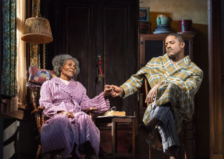 (L–R) Cicely Tyson and Blair Underwood in the critically acclaimed, Tony-nominated Broadway revival of Horton Foote's American masterpiece 'The Trip to Bountiful' at the Ahmanson Theatre.