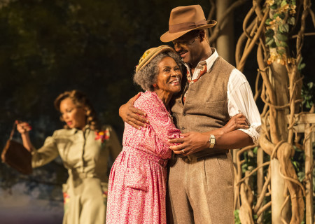 (L–R) Vanessa Williams (background), Cicely Tyson and Blair Underwood in the critically acclaimed, Tony-nominated Broadway revival of Horton Foote's American masterpiece 'The Trip to Bountiful' at the Ahmanson Theatre.<br />