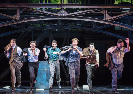 "(L–R) Douglas Williams, Chris Dwan, Shayne Kennon, Will Taylor, Matt Bailey, and Will Blum in ""Harmony"" at the Ahmanson Theatre."