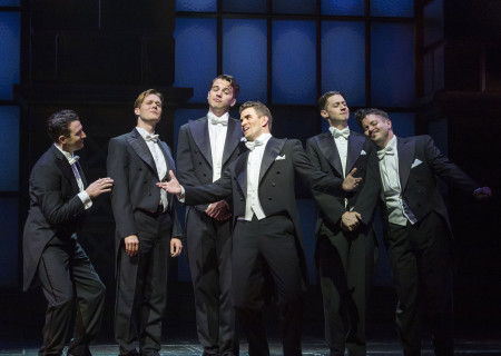 "(L–R) Matt Bailey, Will Taylor, Douglas Williams, Shayne Kennon, Chris Dwan, and Will Blum in ""Harmony"" at the Ahmanson Theatre."