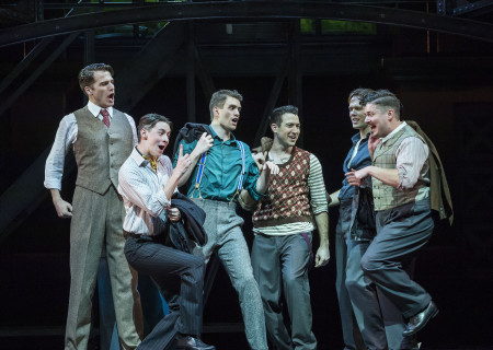 "(L–R) Douglas Williams, Chris Dwan, Shayne Kennon, Matt Bailey, Will Taylor, and Will Blum in ""Harmony"" at the Ahmanson Theatre."