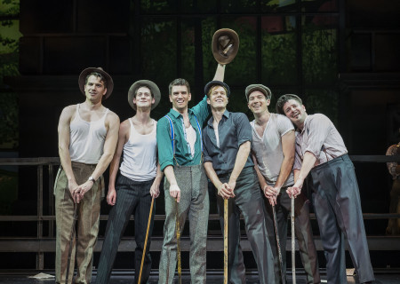 "(L–R) Douglas Williams, Chris Dwan, Shayne Kennon, Will Taylor, Matt Bailey, and Will Blum ""Harmony"" at the Ahmanson Theatre."