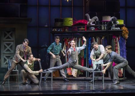 "(L–R) Douglas Williams, Matt Bailey, Shayne Kennon, Chris Dwan (splits), Will Blum, and Will Taylor in ""Harmony"" at the Ahmanson Theatre."
