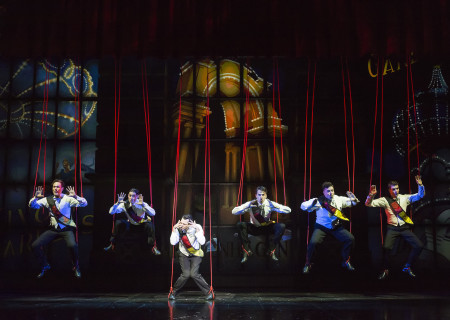 "(L–R) Will Taylor, Chris Dwan, Matt Bailey, Douglas Williams, Will Blum, and Shayne Kennon in ""Harmony"" at the Ahmanson Theatre."