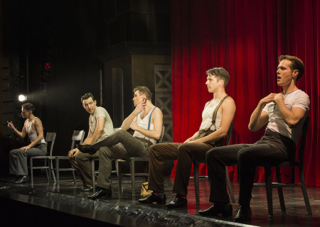"(L–R) Chris Dwan, Matt Bailey, Shayne Kennon, Douglas Williams, and Will Taylor in ""Harmony"" at the Ahmanson Theatre."