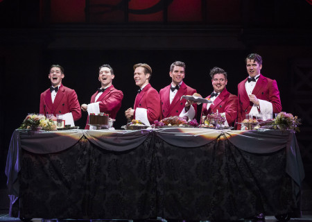 "(L–R) Chris Dwan, Matt Bailey, Will Taylor, Shayne Kennon, Will Blum, and Douglas Williams in ""Harmony"" at the Ahmanson Theatre."