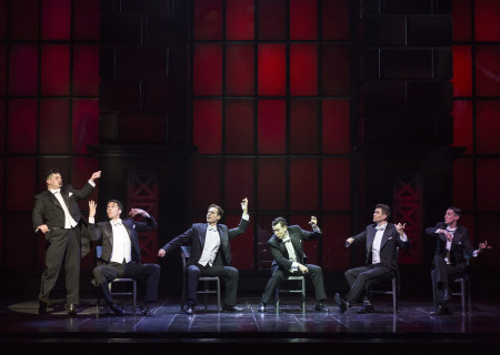 "(L–R) Will Blum, Douglas Williams, Will Taylor, Matt Bailey, Shayne Kennon, and Chris Dwan in ""Harmony"" at the Ahmanson Theatre."