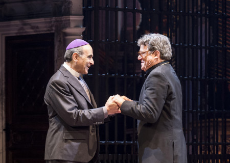 """(L–R) David Suchet and Richard O'Callaghan in """"The Last Confession"""" at the Ahmanson Theatre."""
