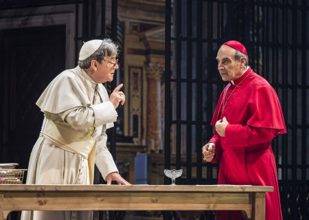 """(L–R) Richard O'Callaghan and David Suchet in """"The Last Confession"""" at the Ahmanson Theatre."""