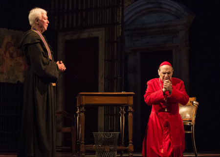 "(L–R) Philip Craig and David Suchet in ""The Last Confession"" at the Ahmanson Theatre."