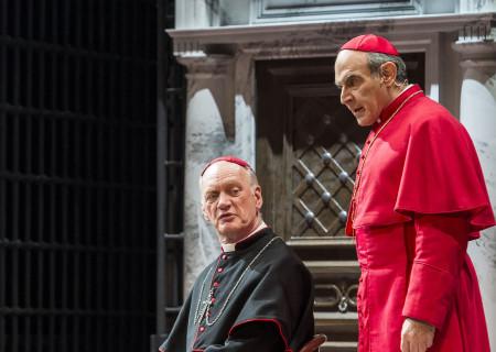 "(L–R) Nigel Bennett and David Suchet in ""The Last Confession"" at the Ahmanson Theatre."