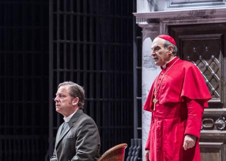 """(L–R) David Ferry and David Suchet in """"The Last Confession"""" at the Ahmanson Theatre."""