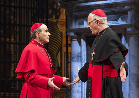 """(L–R) David Suchet and Peter Harding in """"The Last Confession"""" at the Ahmanson Theatre."""