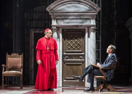 """(L–R) David Suchet and David Bannerman in """"The Last Confession"""" at the Ahmanson Theatre."""