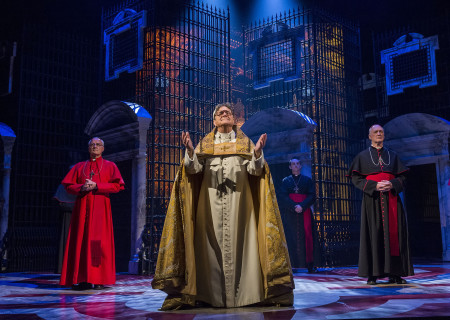 """(L–R) John O'May, Richard O'Callaghan, Mark Hammersley, and Nigel Bennett in """"The Last Confession"""" at the Ahmanson Theatre."""