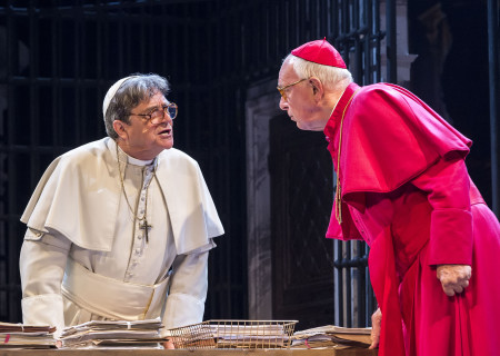 """(L–R) Richard O'Callaghan and Kevin Colson in """"The Last Confession"""" at the Ahmanson Theatre."""