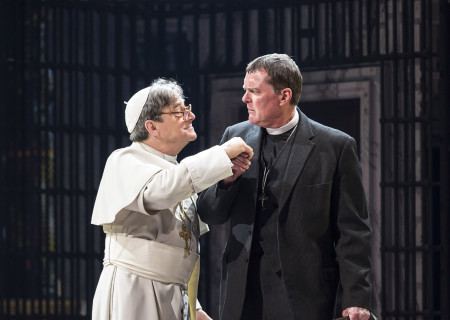 """(L–R) Richard O'Callaghan and Stuart Milligan in """"The Last Confession"""" at the Ahmanson Theatre."""
