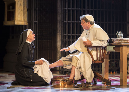 """Sheila Ferris and Richard O'Callaghan in """"The Last Confession"""" at the Ahmanson Theatre."""
