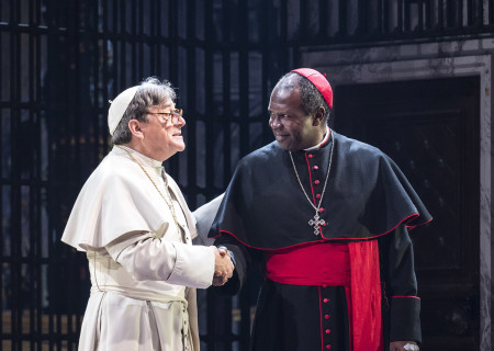"""(L–R) Richard O'Callaghan and Roy Lewis in """"The Last Confession"""" at the Ahmanson Theatre."""