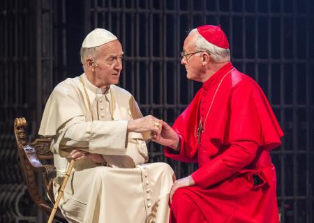 "(L–R) Donald Douglas and John O'May in ""The Last Confession"" at the Ahmanson Theatre."