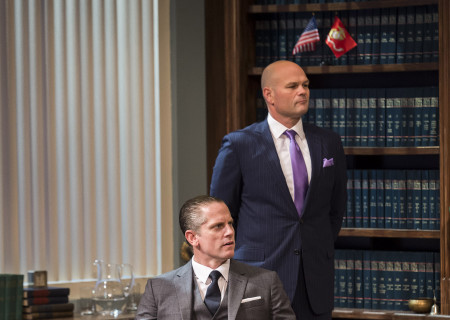 (L–R) Jonno Roberts and Chris Bauer in 'Race' at the Kirk Douglas Theatre.