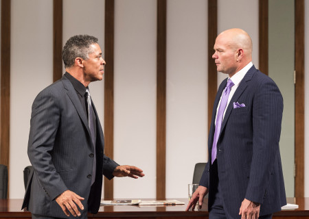 (L–R) Dominic Hoffman and Chris Bauer in 'Race' at the Kirk Douglas Theatre.