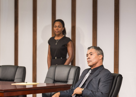 DeWanda Wise and Dominic Hoffman in 'Race' at the Kirk Douglas Theatre.