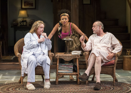 (L–R) Kristine Nielsen, Shalita Grant and Mark Blum in Christopher Durang's Tony Award-winning play 'Vanya and Sonia and Masha and Spike' at the Mark Taper Forum.