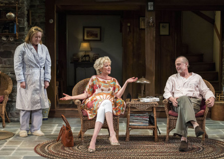 (L–R) Kristine Nielsen, Christine Ebersole and Mark Blum in Christopher Durang's Tony Award-winning play 'Vanya and Sonia and Masha and Spike' at the Mark Taper Forum.