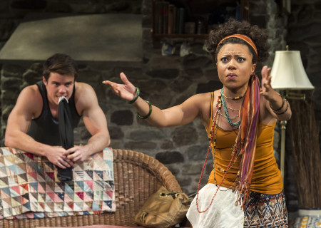 David Hull and Shalita Grant in Christopher Durang's Tony Award-winning play 'Vanya and Sonia and Masha and Spike' at the Mark Taper Forum. .